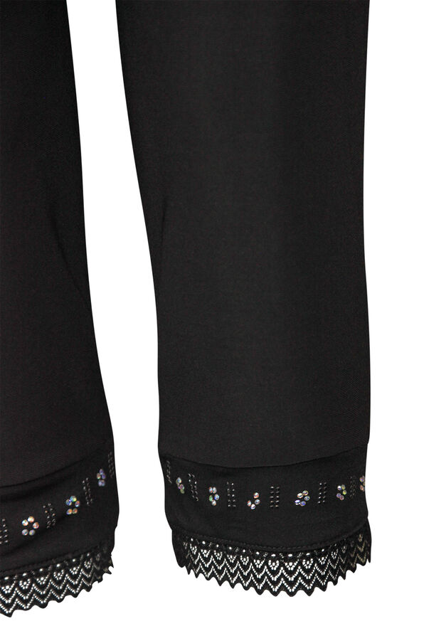 Capri Legging with Lace and Bling Hem, Black, original image number 2