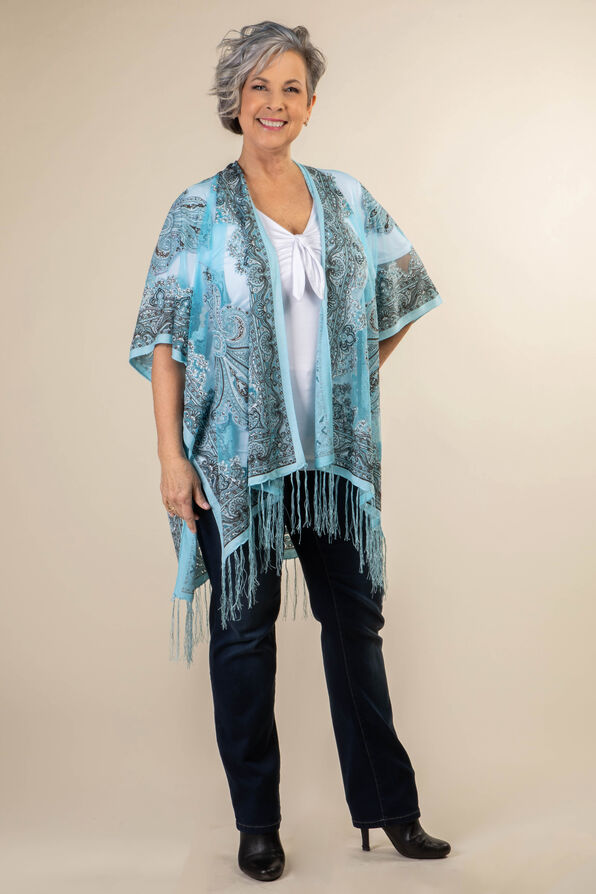 Perfect in Paisley Kimono, Turquoise, original image number 0