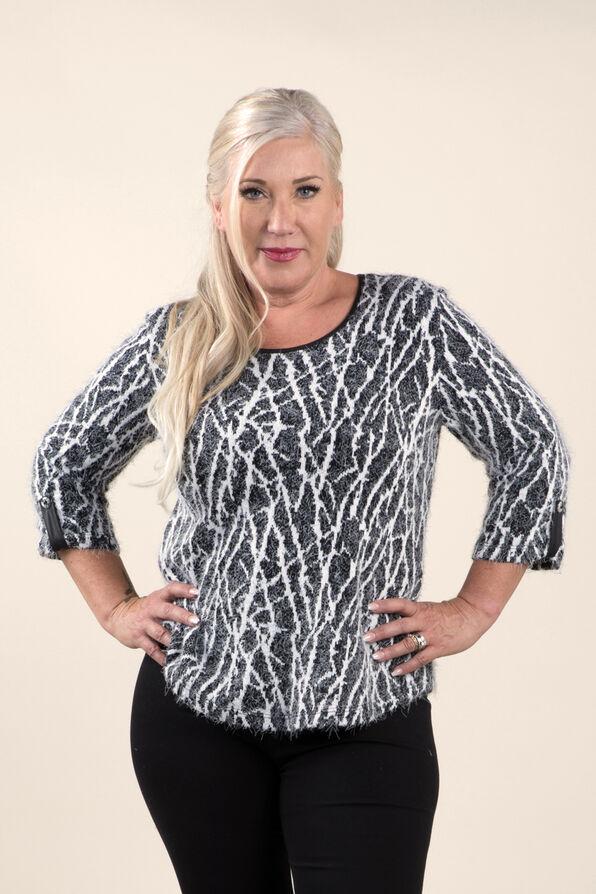 Cozy Print Sweater Knit Top, Black, original image number 3