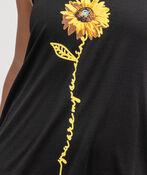 Sunflower Print Hi-Lo Dress, Black, original image number 1