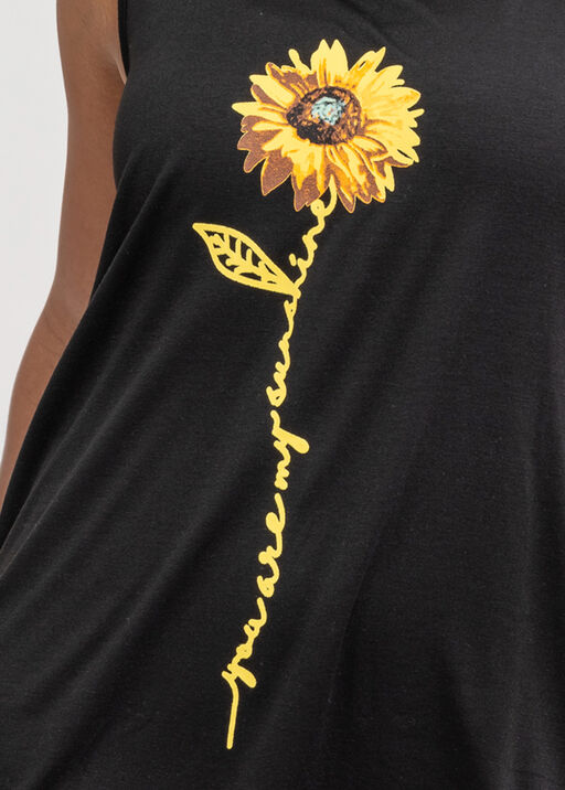 Sunflower Print Hi-Lo Dress, Black, original
