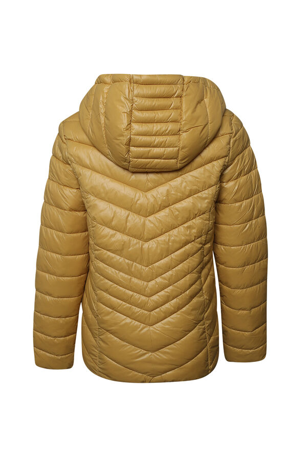Short Ultralight Hooded Puffer Coat, Yellow, original image number 1