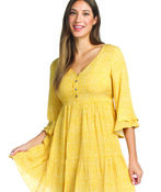 Boho 3/4 Ruffle Sleeve Dress, Yellow, original image number 2