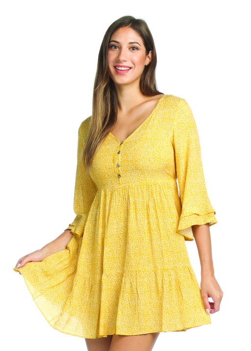 Boho 3/4 Ruffle Sleeve Dress, Yellow, original