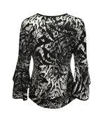 Animal Print Bell Sleeve Top, Black, original image number 1