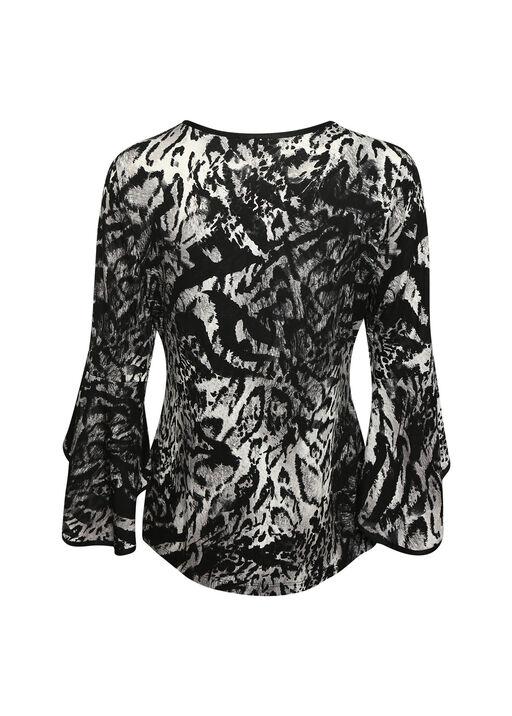 Animal Print Bell Sleeve Top, Black, original