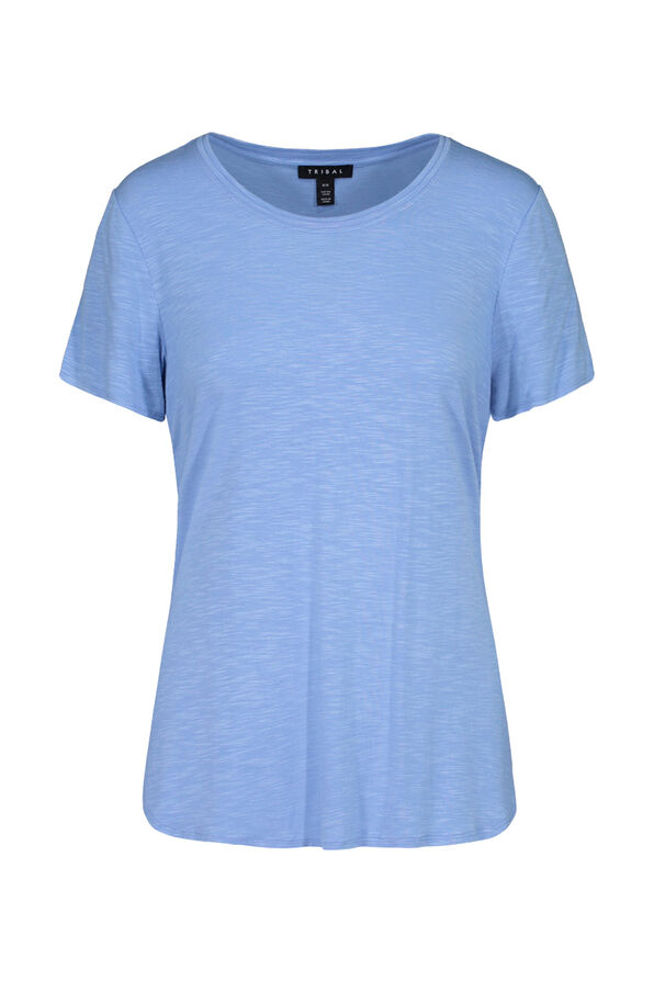 Crew Neck T-Shirt with Hi-Lo Hem, , original image number 1