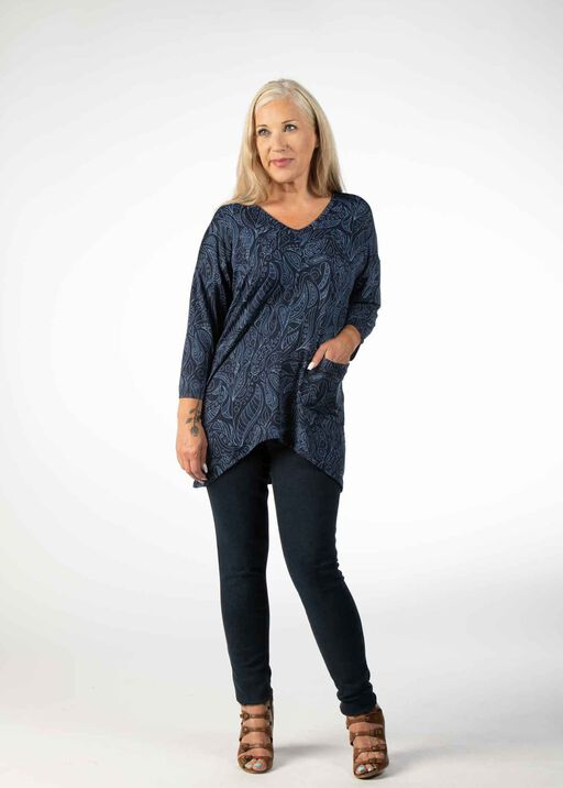 OVERSIZED 3/4 SLEEVE TOP WITH FRONT POCKET, Blue, original