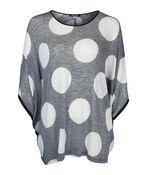 Polka Dot Dolman 3/4 Sleeve Top , Black, original image number 1