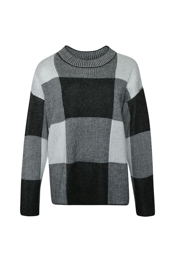 Checker Print Crew Neck Sweater, Grey, original image number 0