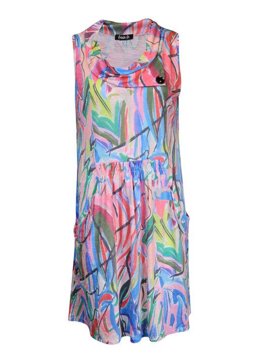 Cowl Neck Sleeveless Dress with Pockets, Pink, original