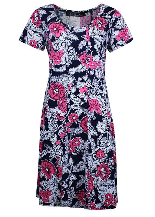 Short Sleeve Floral Puff Print Dress, Pink, original
