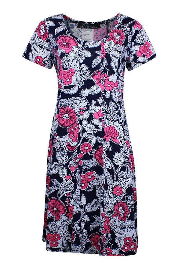 Short Sleeve Floral Puff Print Dress, Pink, original image number 0