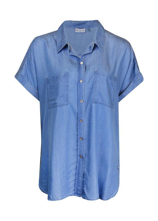 Cap Sleeve Chambray Button Front Shirt, Indigo, original