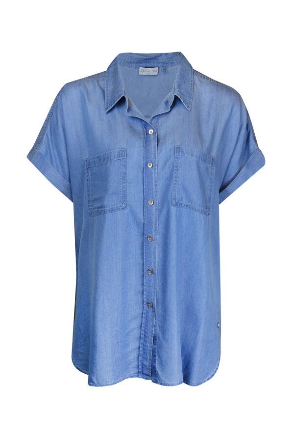 Cap Sleeve Chambray Button Front Shirt, Indigo, original image number 0