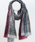 Paisley Print Ombre Scarf, , original image number 0