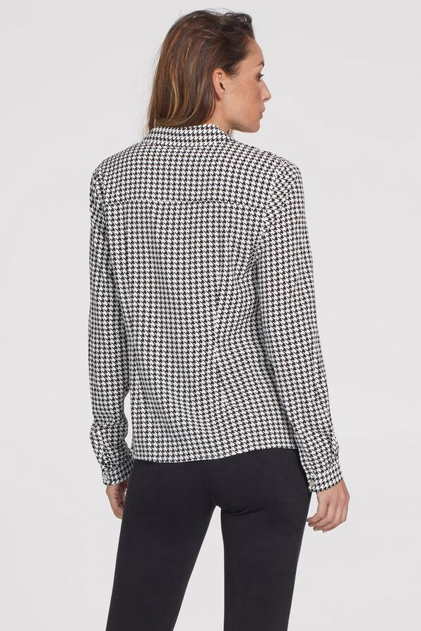 Knotted Houndstooth Button Front, Black, original image number 3