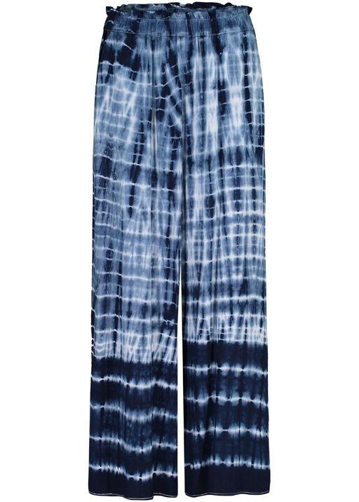 Tie Dye Elastic Waist Ankle Palazzo Pant, Ink, original