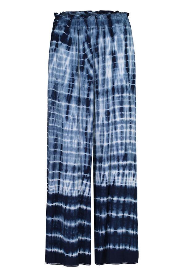 Tie Dye Elastic Waist Ankle Palazzo Pant, Ink, original image number 0