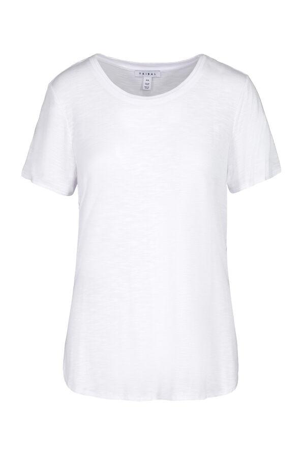 Crew Neck T-Shirt with Hi-Lo Hem, , original image number 3
