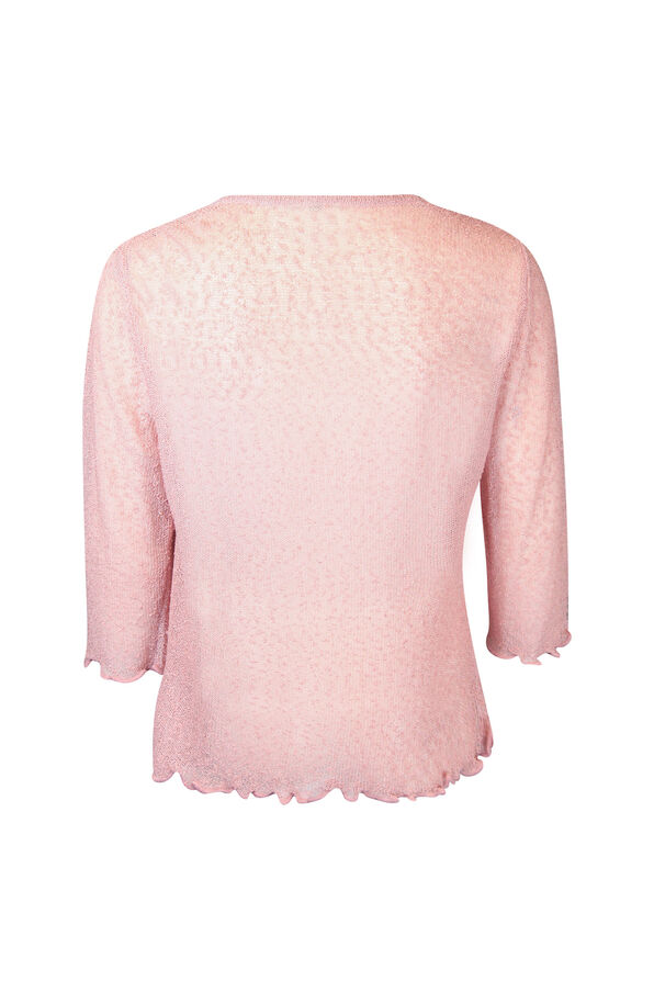 Front Tie Cardigan 3/4 Sleeves, Pink, original image number 1