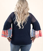 3/4 sleeve Solid and Print Top, Blue, original image number 1