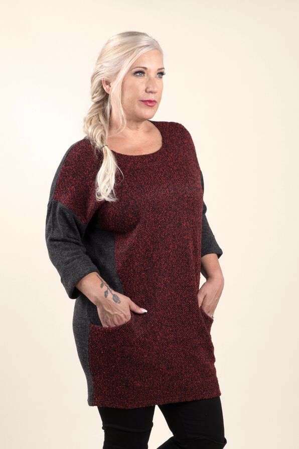 Beautiful Boucle Knit Tunic, Red, original image number 3