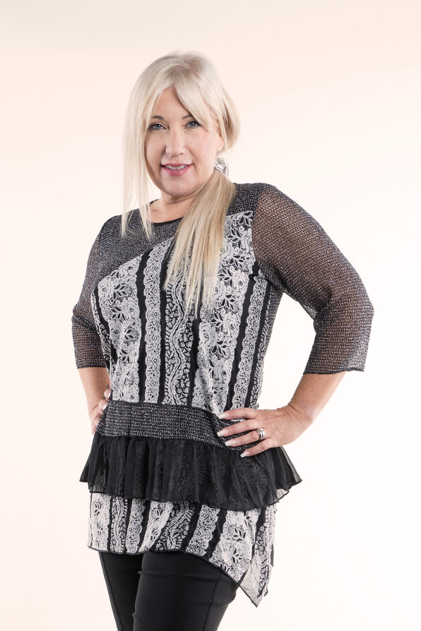 Funky Lace and Ruffle Tunic, Grey, original image number 0