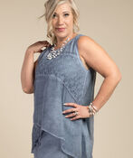 Mary Sleeveless Blouse, Denim, original image number 0