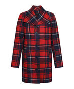 Plaid Pea Coat, Red, original image number 0