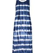 Tribal Sleeveless Tie Dye Maxi Dress , Blue, original image number 1