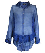 Multi Media Long Sleeve Top with Ruffle Hi-Lo Hem, Denim, original image number 0