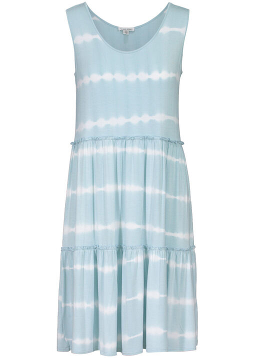 Tribal Tie Dye Ruffle Tiered Midi Dress, Blue, original