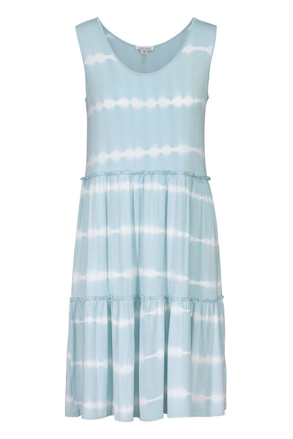Tribal Tie Dye Ruffle Tiered Midi Dress, Blue, original image number 0