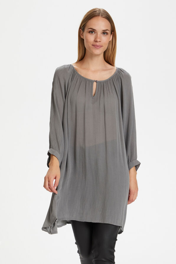 Kaffe Crinkle Tunic with Keyhole and 3/4 Sleeves, Grey, original image number 0