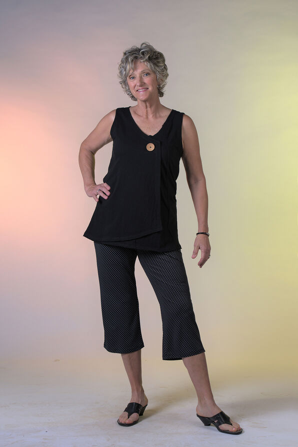 Cotton Faux Crossover Sleeveless Top, , original image number 0
