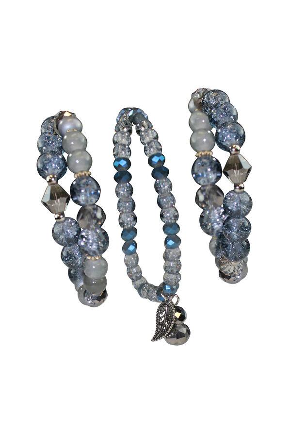 3Set Dazzling Beaded Stretch Bracelet W/ Leaf Charm, Blue, original image number 0