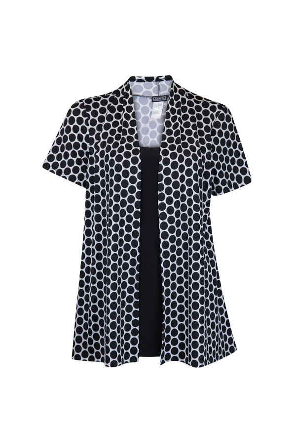 Polka Dot Short Sleeve Fooler Top, Black, original image number 0