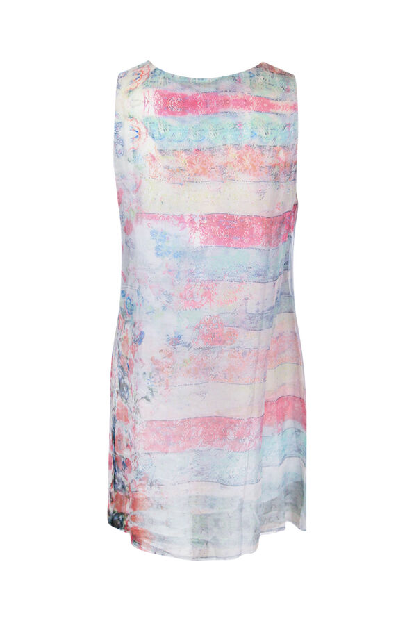 Printed Layered Chiffon Sleeveless Tunic, Pink, original image number 1