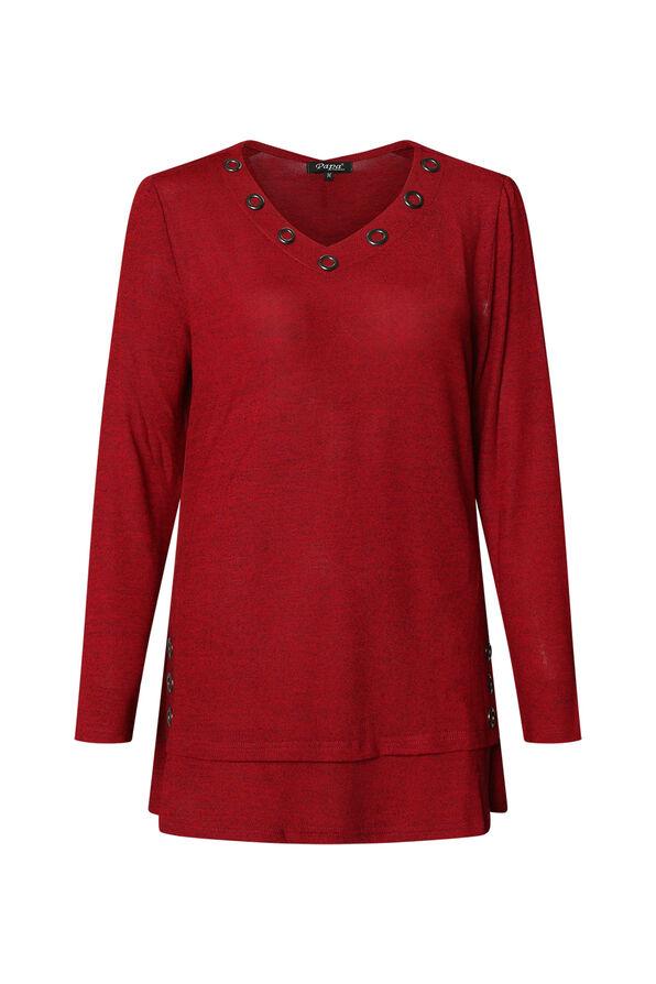 V Neck Melange Knit Tunic Top with Grommets, , original image number 2