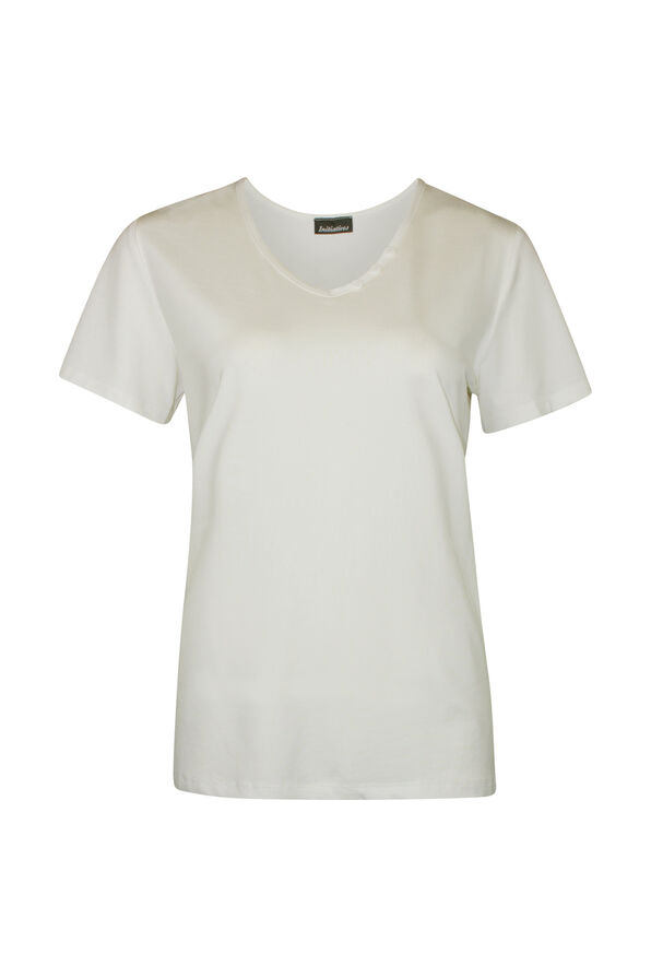 V-Neck T-Shirt with 3 Button Accent, , original image number 1