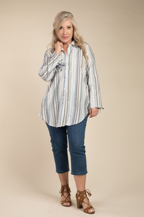 Stripe and Bow Blouse, Blue, original image number 2