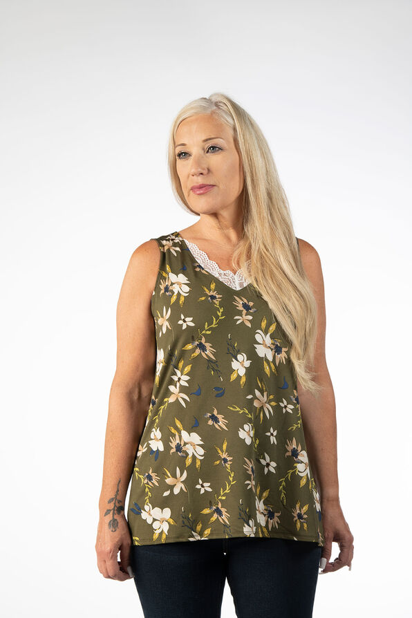 SLEEVELESS TOP WITH LACE DETAIL, Green, original image number 1