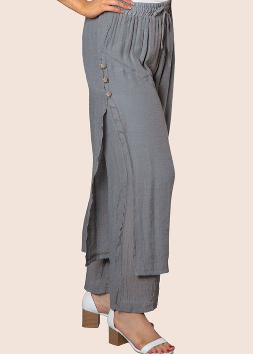 Layered Wide Leg Pant with Button Accent, , original