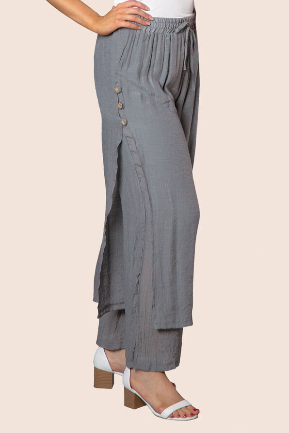 Layered Wide Leg Pant with Button Accent, , original image number 0