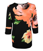 Floral Print 3/4 Sleeve with Banded Cuff and Hem, Black, original image number 1