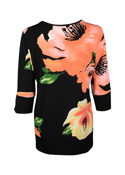 Floral Print 3/4 Sleeve with Banded Cuff and Hem, Black, original