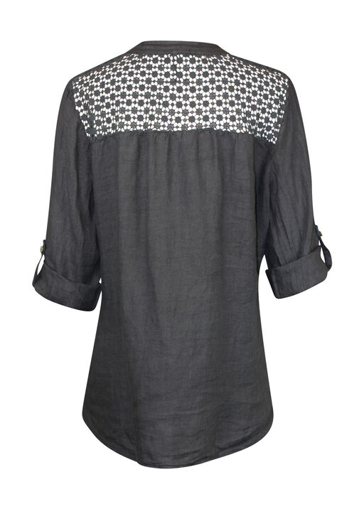 Crochet Shoulder Linen Top with button Front, Charcoal, original