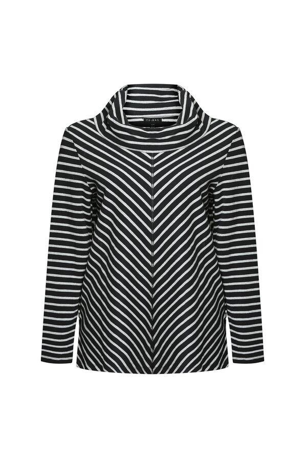 Mitered Stripe Cowl Neck Top, Black, original image number 0