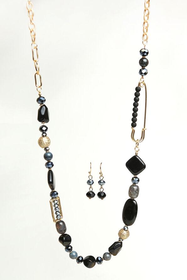 Elegant Long Necklace Set , Gold, original image number 0